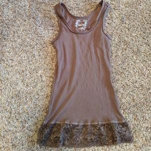 Cotton and lace tank - Brown size small